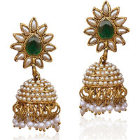 The Pari Gold Plated Multicolor Alloy Jhumkis For Womens
