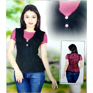Fashwo Pink And Black Net Top
