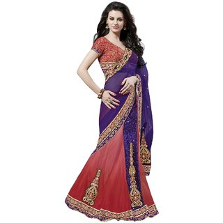 Triveni Orange Net Embroidered Saree With Blouse