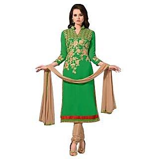 Triveni Entrancing Green Colored Embroidered Faux Georgette Salwar Kameez