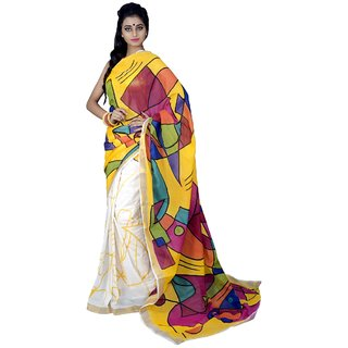 Triveni Purple Cotton Printed Saree With Blouse