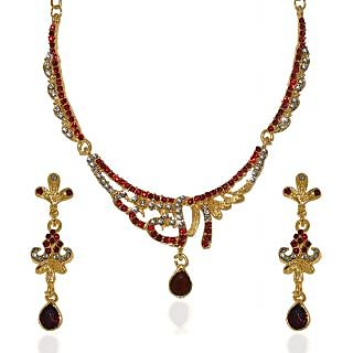 14Fashions Fabulous Gold Plated Necklace Set in Red  -  1103939
