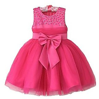 Candy Floss Girls Party Wear Dress Pink