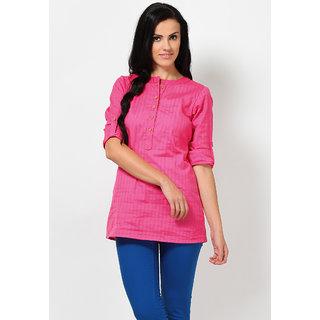 Pink Cotton Kurti For Girls