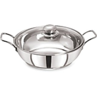 PRISTINE Induction CompatibleSandwich Base Stainless Steel Kadai with glass lid