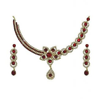 Kriaa Gold Plated Red Exclusive Necklace Set  -  1103701