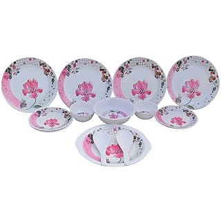 Czar Elite Pink Flower 16 Pcs Dinner Set