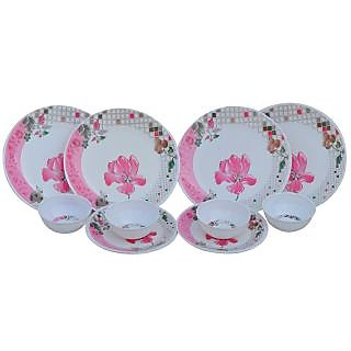 Deemark Elite Pink Flower Melamine 12 Pcs Dinner Set
