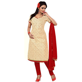 Cream Chanderi Type Dress Material