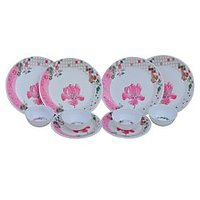Deemark Elite Pink Flower 16 Pcs Dinner Set at shopclues
