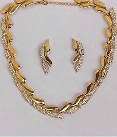 Touchstone Golden Leaf AD Glitzy Necklace Set