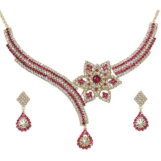 Kriaa Gold Plated Pink Graceful Design Necklace Set  -  1103716
