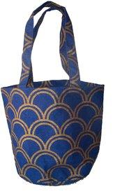 Foonty Blue Print Jute Bag
