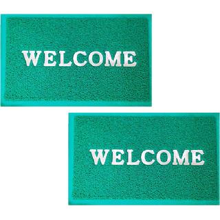 Fresh From Loom Welcome Green Door Mat Set of 2