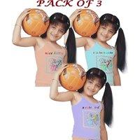 Kid's Girls Cotton Multicolour Printed Cami-Slips- Set Of 3