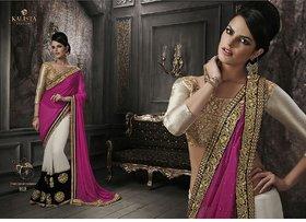 Designer Sarees Multicolor Chanderi Self Design Saree With Blouse