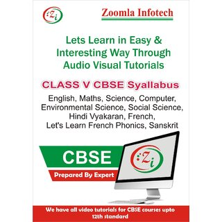 Class 5 CBSE English, Maths, Science, Computer, Environmental Science, Social Science, Hindi Vyakaran, French, Let's Learn French Phonics, Sanskrit Video Tutorials DVD By Zoomla Infotech