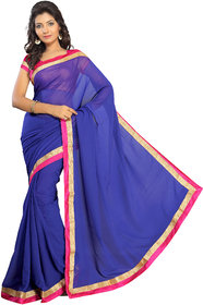 florence clothing company Blue Georgette Self Design Saree With Blouse