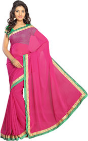Silkbazar Pink Georgette Lace Saree With Blouse