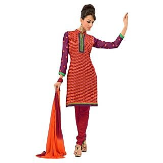 Sinina Wine Color Designer Embroidered Cotton Unstitched Dress Material