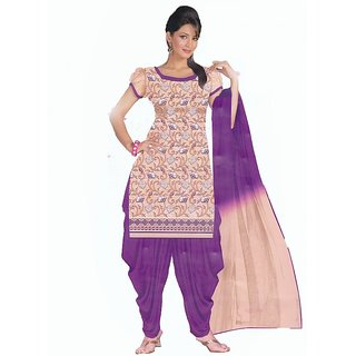 Exotic Emroidered Purple Unstitched Suit