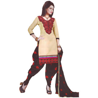 1st Home patiala style cotton Dress material in Diamond work (Unstitched)