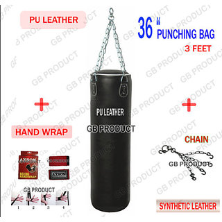 GB PRODUCT 36 SIZE PU LEATHER PUNCHING BAG ( 3FT ) + HAND WRAP