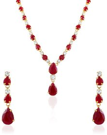 Oviya Gold Plated Red Necklace Set With Crystals