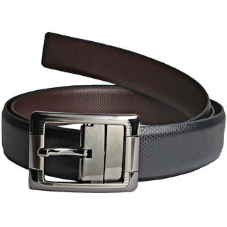 LEE O Black & Brown Reversible Leather Belt For Men