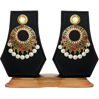 Zaveri Pearls Black & Red Everyday Wear Alloy Casual Gold Plated Pearl Dangle Earrings