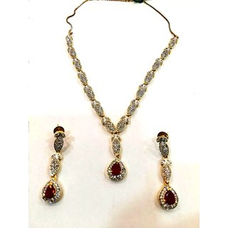 American Diamonds Fashion Necklace Set Red