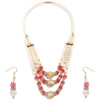 GoldNera Pink Exclusive Pearl Necklace with Earrings