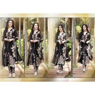 Arzaan Partywear Georgette Dress Black Color (Unstitched)