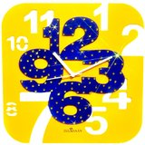 Zeeshaan Yellow & Blue Square Wall Clock