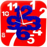 Zeeshaan Red & Blue Square Wall Clock
