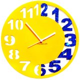 Zeeshaan Yellow & Blue Engraved Wall Clock