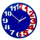 Zeeshaan Blue & Red Engraved Wall Clock