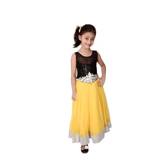 Kids dresses baby clothing girls Designer long party dress with inner Yellow
