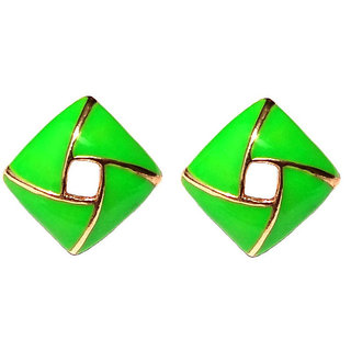 Fancy Clip On Green Earrings - 695