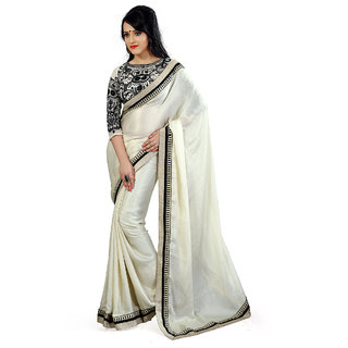 Florence White Satin Georgette Embroidered Saree (FL-10436)