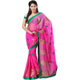 florence clothing company Pink Georgette Printed Saree With Blouse