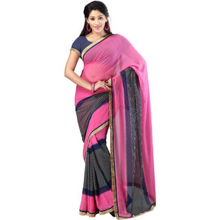 florence clothing company Blue Georgette Striped Saree With Blouse