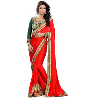 Florence Red Silk Jacquard Embroidered Saree (FL-10471)