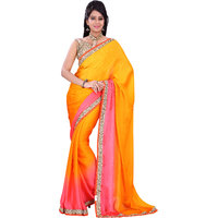 florence clothing company Peach Chiffon Plain Saree With Blouse