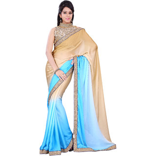 Florence Blue Chiffon Embroidered Saree (FL-10481)