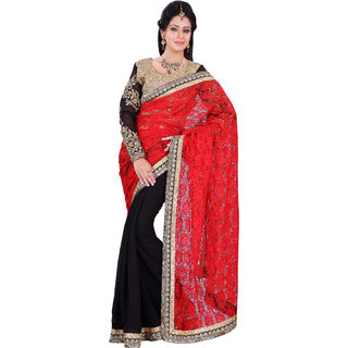 Florence Red  Black Russal Net Embroidered Saree (FL-10477)