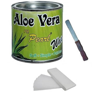 Aloe Vera Hot Body Wax 600Gm For Hair Removal With100 Wax Strips With Free Knife