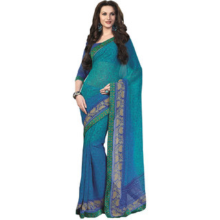 Aesha Blue Brocade Printed Saree With Blouse