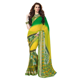 Aesha Yellow Brocade Printed Saree With Blouse