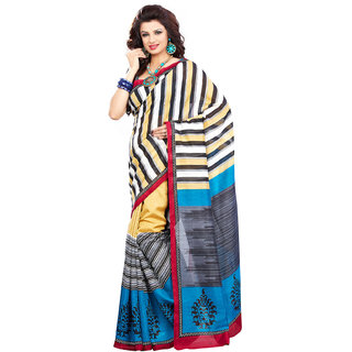 Aesha Multicolor Linen Printed Saree With Blouse